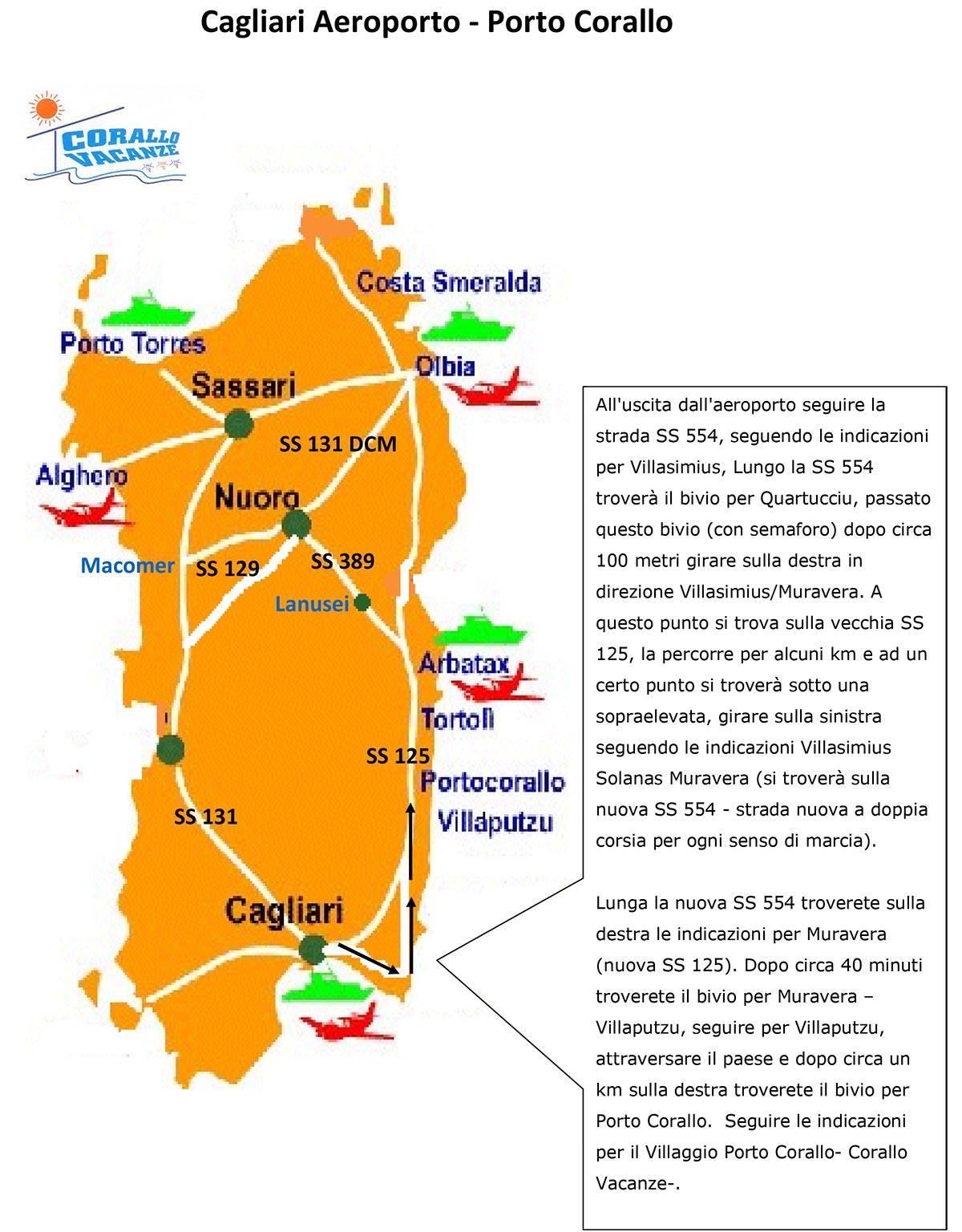 Mappa Km Sardegna.Come Arrivare Corallo Vacanze